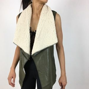 Fully lined faux shearling vest top